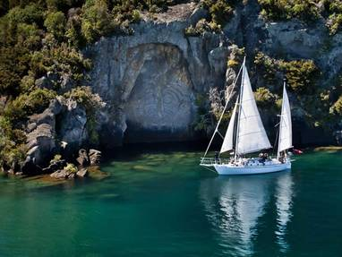 Sail barbary to maori rock carvings scenic cruises lake taupo gallerylarge